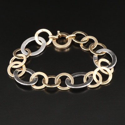 Italian 14K Yellow and White Gold Cable Chain Bracelet