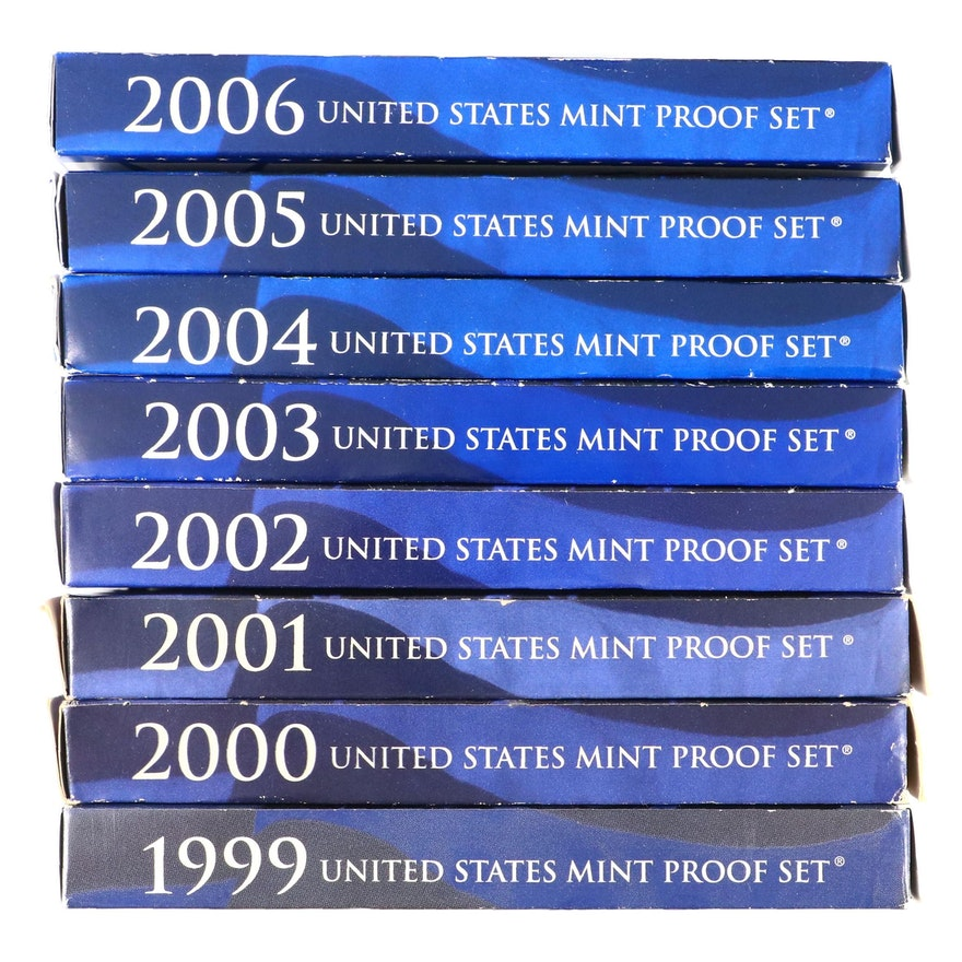 Eight Different U.S. Mint Proof Sets, 1999–2006