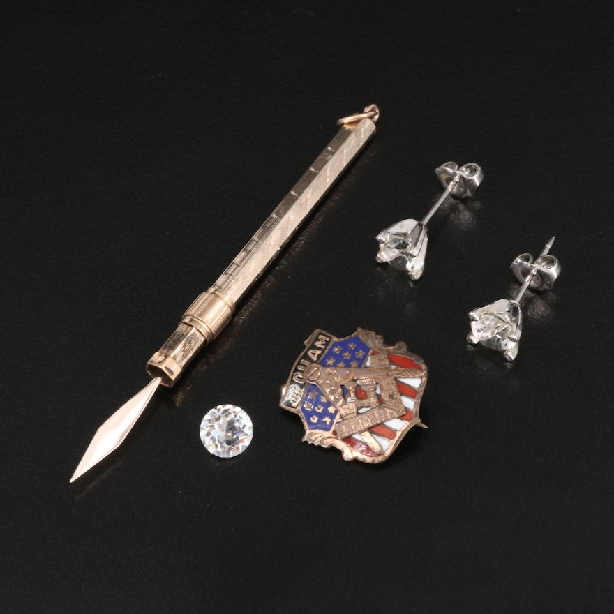 Vintage Masonic Pin with Toothpick Pendant, Stud Earrings and Loose Stone