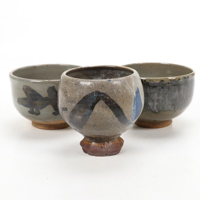 Paul Bogatay Studio Pottery Tea Bowls, Mid-20th Century