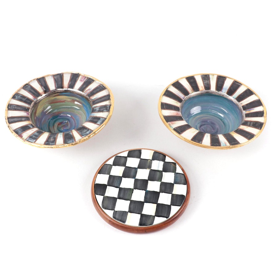 """MacKenzie-Childs Ceramic Serving Bowls with """"Courtly Check"""" Enameled Trivet"""