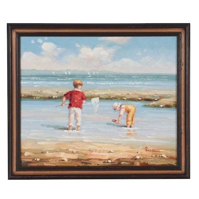 Figural Oil Painting of Beach Scene, 21st Century