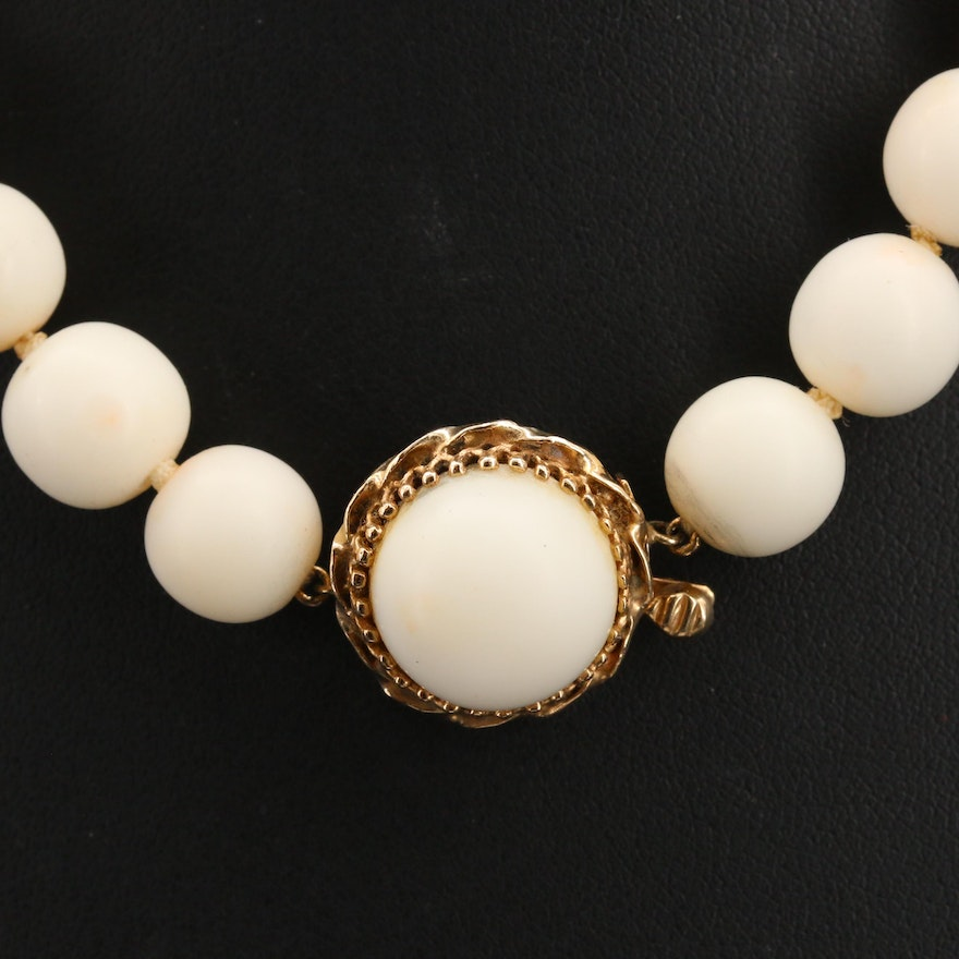 Vintage Angel Skin Coral Necklace with 14K Clasp