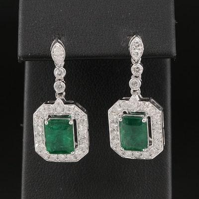 14K 4.32 CTW Emerald and 1.81 CTW Diamond Halo Drop Earrings