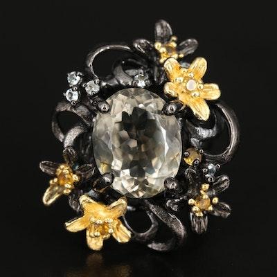 Sterling Silver Prasiolite, Citrine and Topaz Ring with Floral Design
