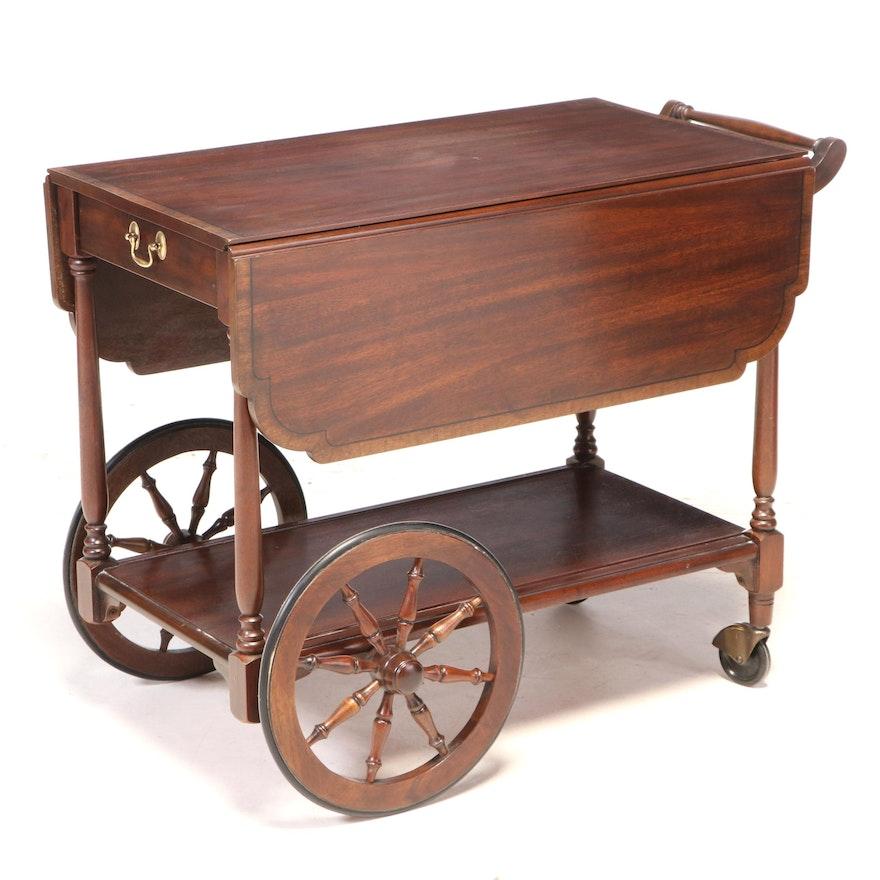 """Henkel-Harris """"Virginia Galleries"""" Mahogany Drop-Leaf Tea Cart, dated 1971"""