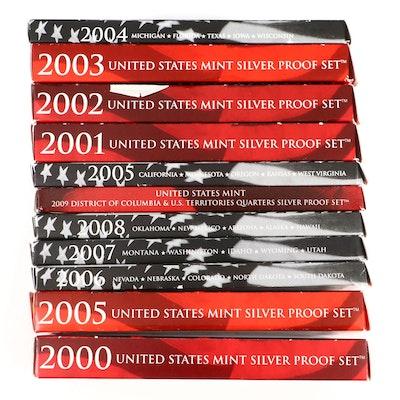 11 U.S. Mint Proof Coin and Commemorative Quarters Sets