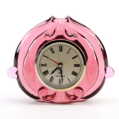 "Fenton ""Violet"" Glass Desk Clock"