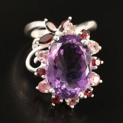 Sterling Amethyst, Garnet and Tourmaline Floral Ring