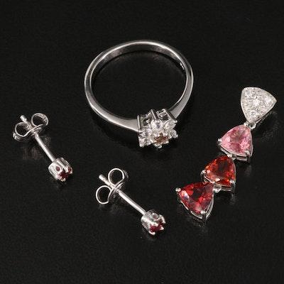 Sterling Silver Jewelry Featuring Tourmaline, Garnet and White Zircon