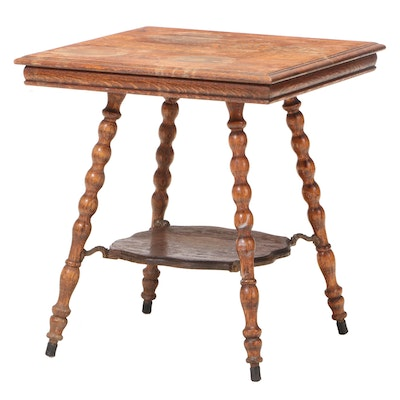 Late Victorian Quartersawn Oak Two-Tier Side Table, Late 19th/Early 20th Century