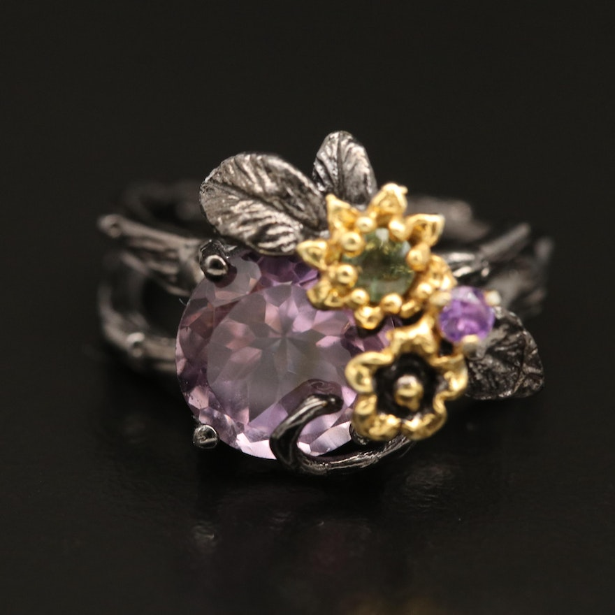 Sterling Amethyst and Sapphire Floral Ring