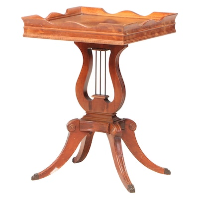 Lexington Chair Co. Classical Style Lyre-Base Side Table, 20th Century