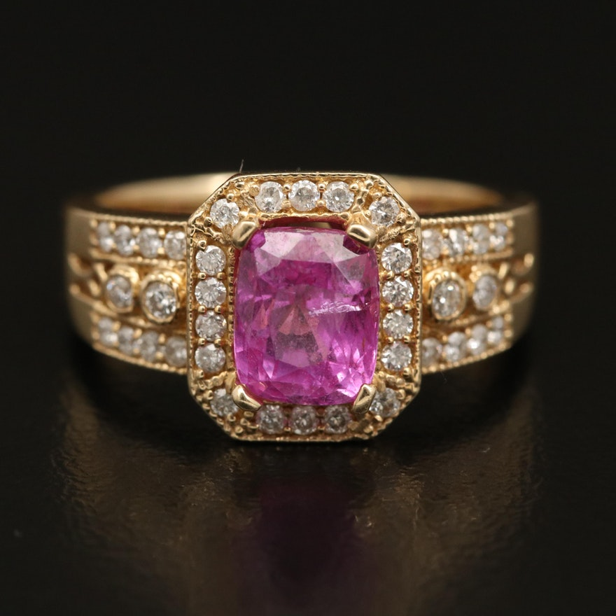 14K 2.65 CT Pink Sapphire and Diamond Ring