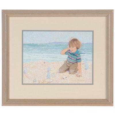 Judi Niernberger Gouache Painting of Beach Scene, Late 20th Century