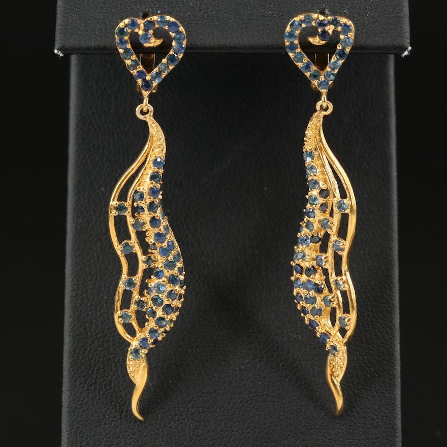 Sterling Sapphire Heart Drop Earrings