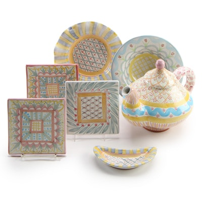 "MacKenzie-Childs ""Monet,"" ""Brighton Pavilion,"" More Plates, Bowls, and Teapot"