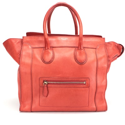 Céline Medium Luggage Tote in Red Calfskin Leather