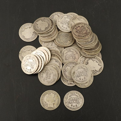 Fifty-Seven Barber Silver Dimes