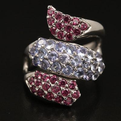 Sterling Silver Tanzanite and Garnet Wrap Ring