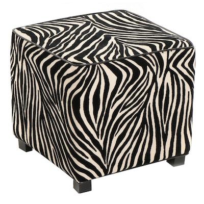 Contemporary Ottoman with Zebra Pattern Upholstery