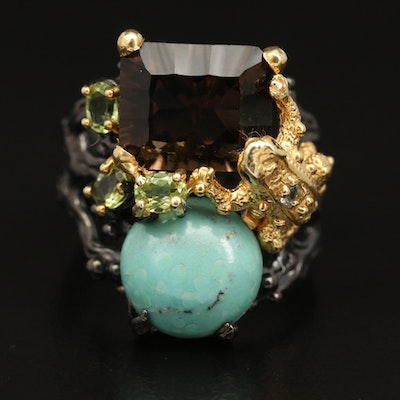 Sterling Silver Smoky Quartz, Topaz and Turquoise Frog Ring