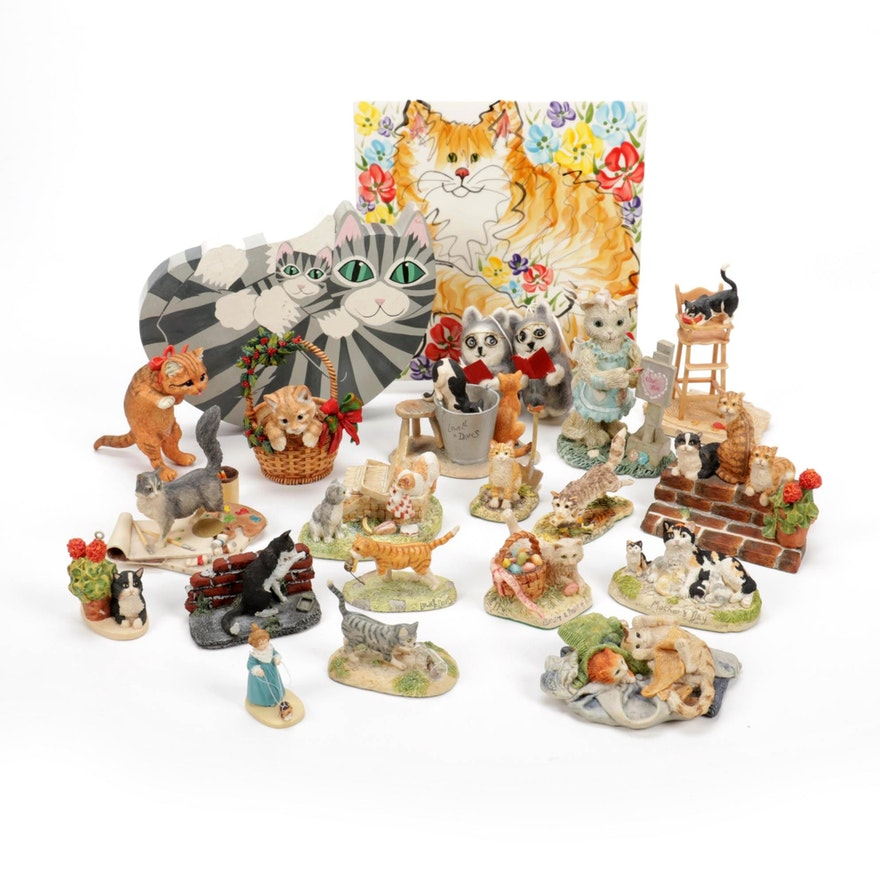 Schmid and Other Cat Figurines with Ornaments and Decor