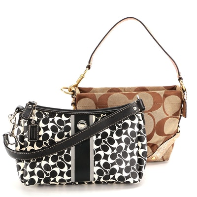 Coach Baguette Shoulder Bags in Signature CC Leather and Canvas