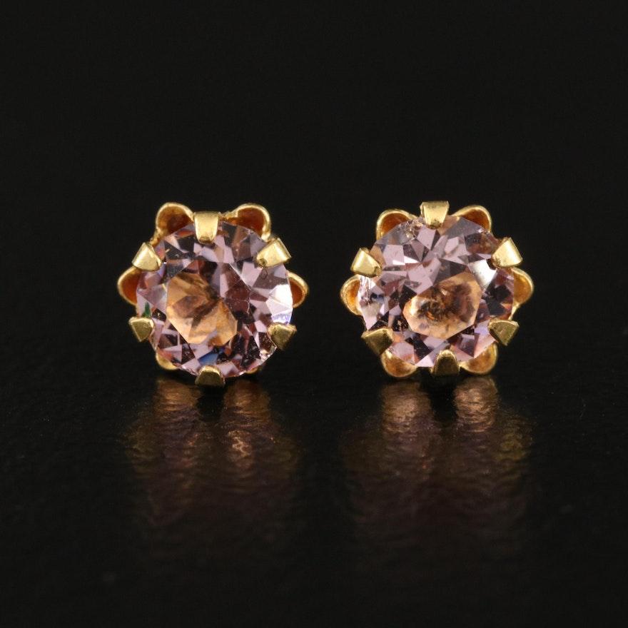 14K Buttercup Set Faceted Glass Stud Earrings