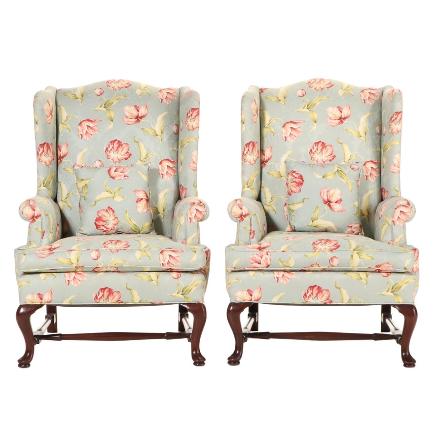 Pair of Queen Anne Style Custom-Upholstered Mahogany Wingback Armchairs