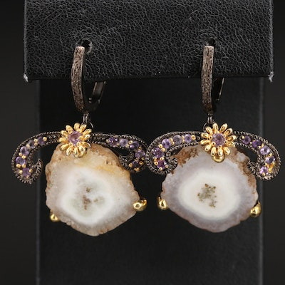 Sterling Agate and Amethyst Earrings with Floral Accent