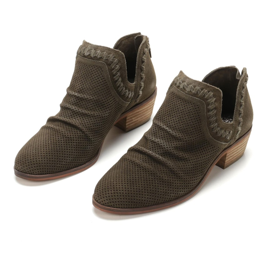 Vince Camuto Palmina Ankle Boots in Olive Perforated Suede