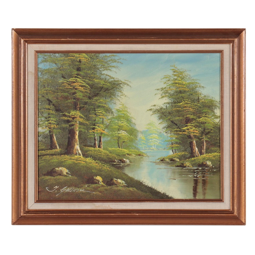 Forest Landscape Oil Painting With River, Late 20th Century