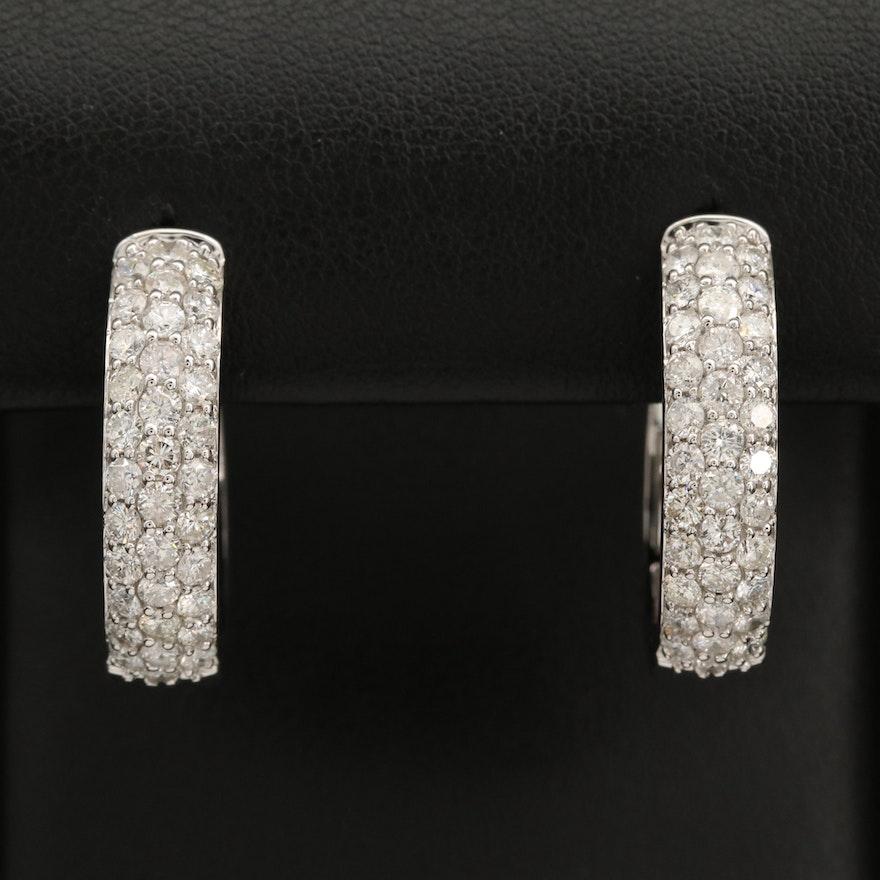14K 2.77 Pavé Diamond Hoop Earrings
