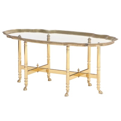 Hollywood Regency Style Brass and Glass Top Coffee Table, Manner of La Barge