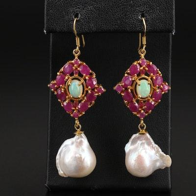 Sterling Ruby, Pearl and Gemstone Earrings
