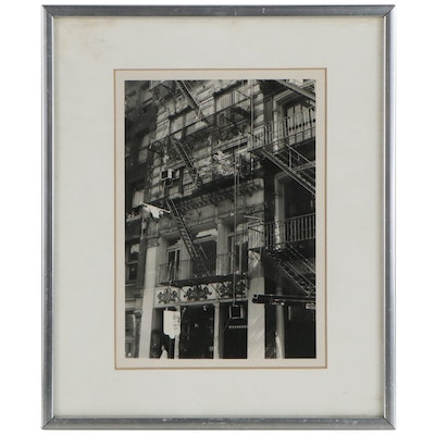 Architectural Silver Gelatin Photograph of Fire Escapes