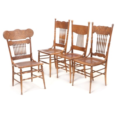 Four Late Victorian Pressed-Back Side Chairs, Late 19th/Early 20th Century