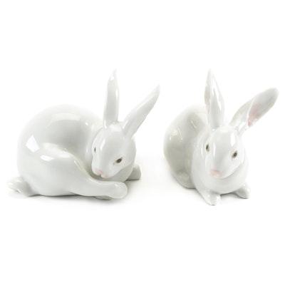 """Lladró """"Preening Bunny"""" and """"Attentive Bunny"""" Figurines by Fulgencio García"""
