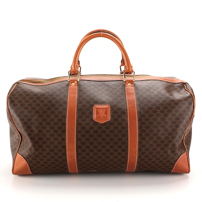 Celine Duffle Bag in Macadam Canvas with Leather Trim