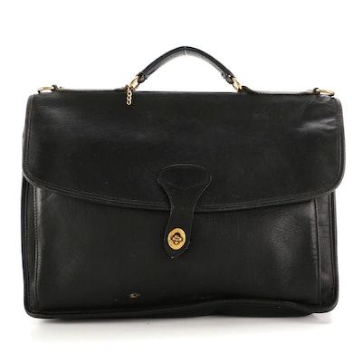 Jack Georges Black Leather Messenger Bag Briefcase