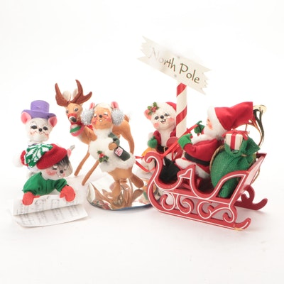 Annalee Christmas Figurines Including Santa's Sleigh and North Pole