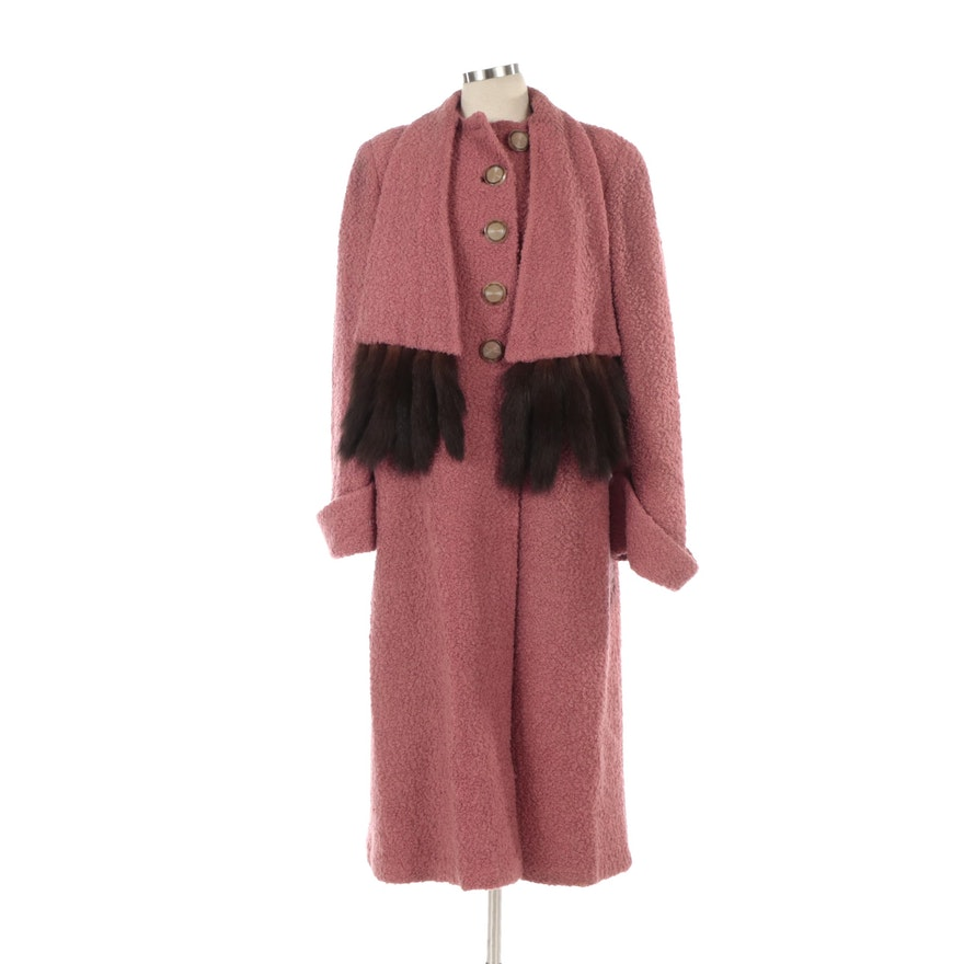 Pink Bouclé Wool Coat with Attached Mink Tail Fur Trimmed Scarf