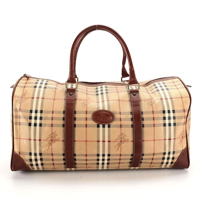 """Burberrys Duffle Bag in """"Haymarket Check"""" Coated Canvas and Leather"""