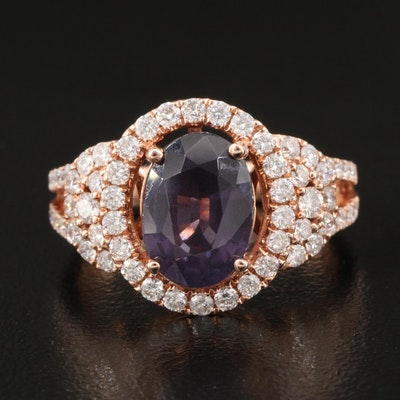 14K Spinel and Diamond Halo Ring with Split Shoulders