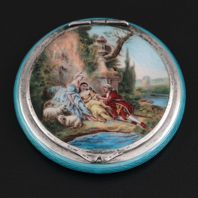 German Guilloché Enamel and Sterling Silver Powder Compact