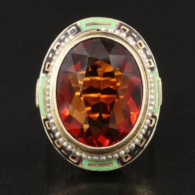 Vintage 14K Citrine and Pearl Ring