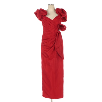 En Francais by Huey Waltzer Red Puff Sleeve Evening Dress