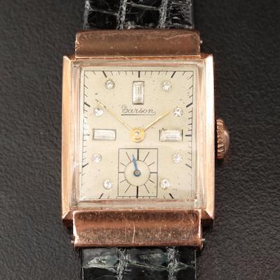 Vintage Garson Crystal Dial 14K Rose Gold Wristwatch