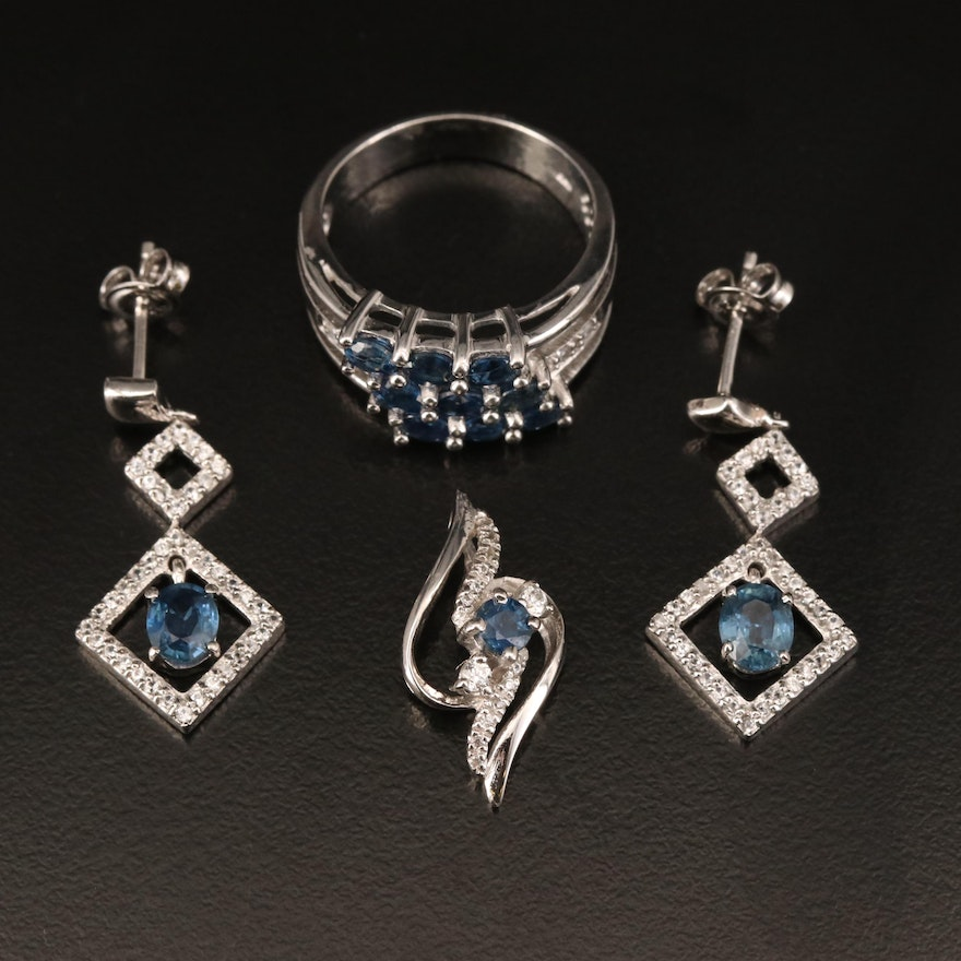 Sterling Silver Sapphire and Zircon Jewelry